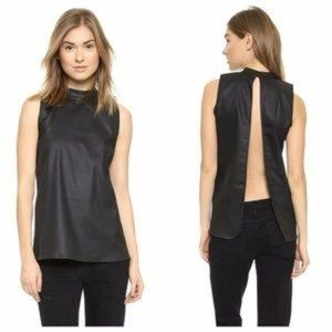 3x1 NYC Black Coated Open Back Top Size Small